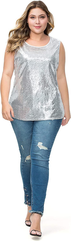 LLmansha Women's Sequin Tops Plus Size Sparkle Glitter Summer Sleeveless Vest Tank Tops Clubwear Party