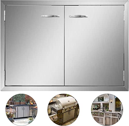 lowest Mophorn outlet online sale BBQ Access Door 33W x 22H Inch, Double BBQ Door Stainless Steel, Outdoor wholesale Kitchen Doors for BBQ Island, Grilling Station, Outside Cabinet outlet online sale