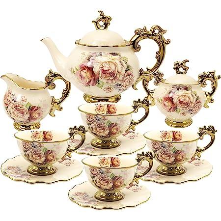 fanquare 15 Pièces Services à Thé en Porcelaine Anglaise, Ensemble de Café en Porcelaine de Fleurs Vintage, Service à Thé de Mariage pour Adultes