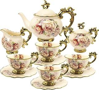 fanquare 15 Pièces Services à Thé en Porcelaine Anglaise, Ensemble de Café en Porcelaine de Fleurs Vintage, Service à Thé ...