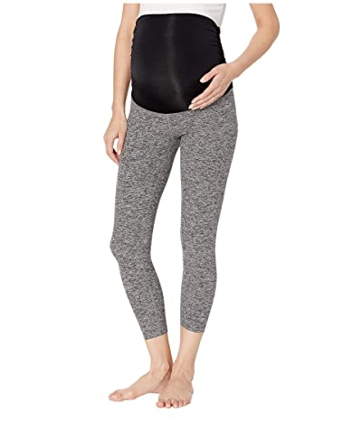 Beyond Yoga Fold Down Maternity Capri Leggings (Black/White Space Dye) Women
