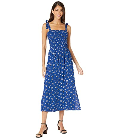 1.STATE Tie Shoulder Smocked Top Floral Shift Dress (Yacht Blue) Women