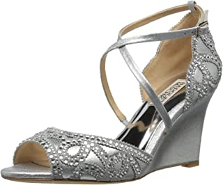 Badgley Mischka Women's Winter Wedge Sandal, Silver, 10 M US