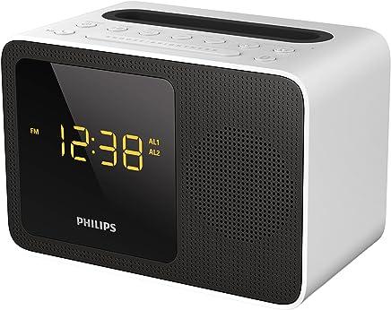 Philips AJt5300W/12 Radiosveglia (Led,Streaming Musica Wireless, Bluetooth, Stazione di ricarica universale con porta USB, Bluetooth), Nero/Bianco