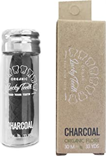 Organic Bamboo Fibre with Activated Charcoal Floss in Glass Jar with Tea Tree and Peppermint essential oils 30 m / 33 yds - by Lucky Teeth (1 Pack)