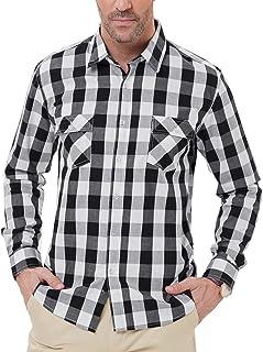 PAUL JONES Men's Western Plaid Shirt Button Down Casual Shirt