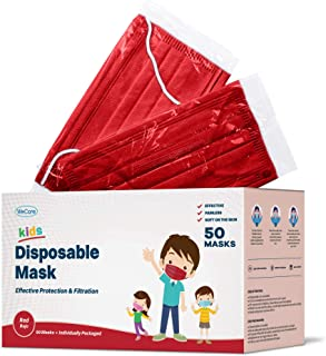 WeCare Disposable Face Masks For Kids, 50 Colored Masks, Individually Wrapped