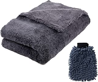 Wemk Microfiber Towel with Car Wash Mitt, Microfiber Cleaning Cloth(24in. x 36in.) Super Soft, Strong Absorption, for Car Cleaning, Household Cleaning