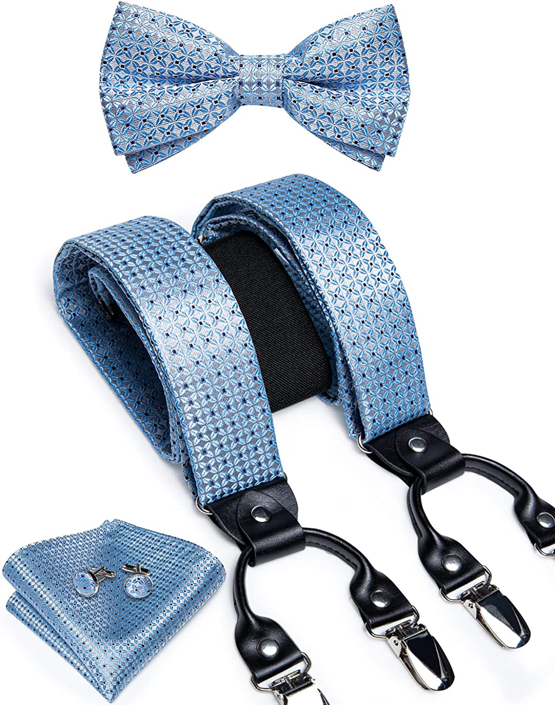 DiBanGu Paisley Bow Tie and Supenders Set for Men Tuxedo Clip Supenders Pocket Square Cufflinks Trouser Braces
