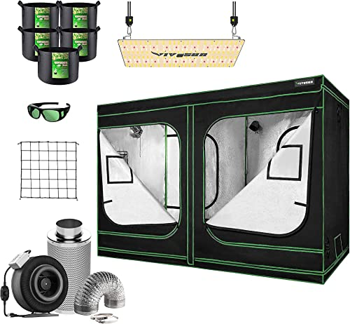 """new arrival VIVOSUN 96""""x48""""x80"""" Mylar Hydroponic Grow Tent Complete Kit with 8 Inch 740 CFM Inline Fan Package, VS2000 lowest LED Grow Light, Glasses, Grow Bags, wholesale Trellis Netting online"""