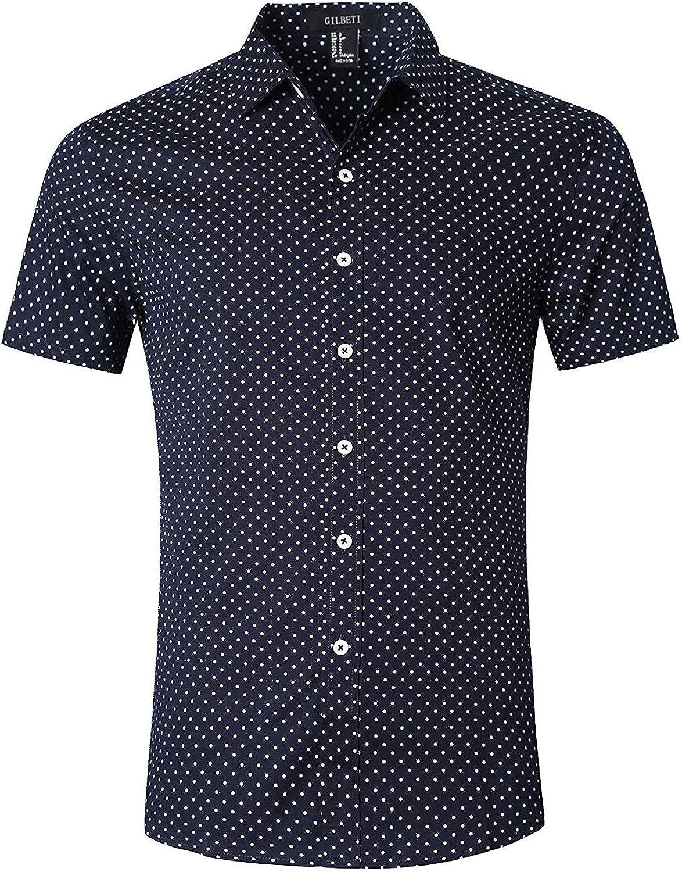 AVANZADA Men's Casual Dress New excellence York Mall Cotton Short Dots Polka Sleeve Shirt