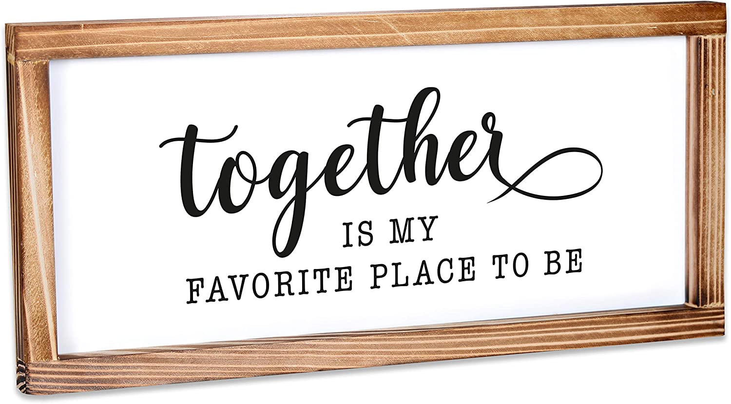 Together is My Favorite Place to be Sign - Rustic Farmhouse Decor for the Home Sign - Wall Decorations for Living Room, Modern Farmhouse Wall Decor, Rustic Home Decor with Solid Wood Frame - 8x17 Inch