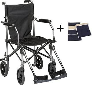 Transport Wheelchair Lightweight Folding, Lightweight Transport Chair Wheelchair With Brakes, Elevating Legrest, Carry Bag, Sheepskin Armrest Pouch, Travelite Transport Wheelchair Chair in a Bag, 19in