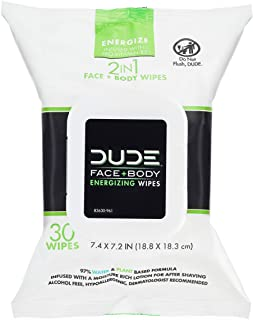 DUDE Face & Body Wipes 30 Count Energizing & Refreshing Scent Infused with Pro Vitamin B-5, Face Cleansing Cloths for Men,...