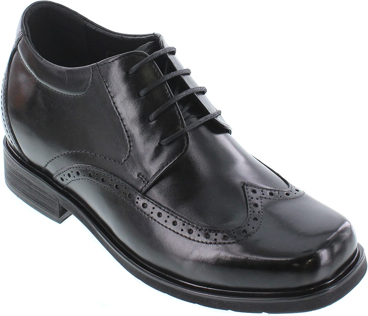 CALTO Men's Invisible Height Increasing Elevator Shoes - Black Leather Lace-up Wing-tip Square-Toe Formal Oxfords - 3 Inches Taller - T52711