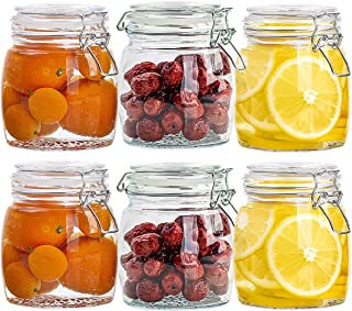 CZUMJJ Round Glass Jars, Set of 6 Glass Storage Canisters Jars, 25oz Clear Food Storage Jars With Leak Proof Hermetic Seal