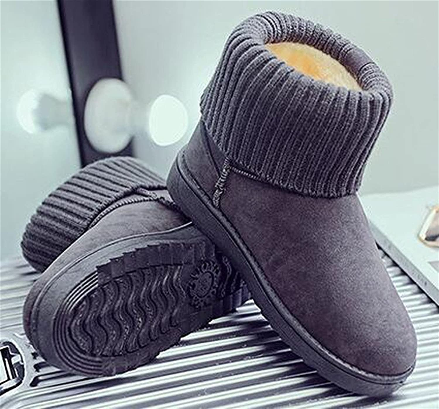 Robert Reyna Fashion Women's Thick Knitted Flat Fur Lined Frosted Ankle High Snow Boots