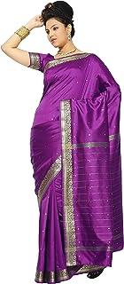 فستان ساري سنسكريتي هندي تقليدي من قماش البانراسي من الحرير بقصة ملفوفة