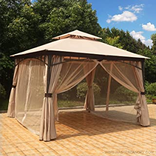 MasterCanopy Patio Soft Top Gazebo 11.5×11.5 Round Post Gazebo Canopy Iron Shelter with Mosquito Netting and Privacy Wall (Beige)