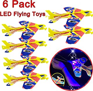 Selee Inc 6 Pack LED Airplane Toys Light Flashing Slingshot Catapult Airplane DIY Airplane Toys Model Kit with Slingshot +Stickers Flying Toys Glow in The Dark Holiday TOY Gift for Kids