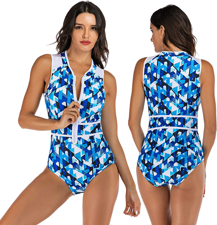 KURUISI Womens Rashguard Half Sleeve One Piece Zip UV Protection Surfing Swimsuit Swimwear Bathing Suits