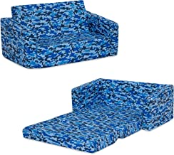 Delta Children Cozee 2-in-1 Extra Wide Convertible Sofa to Lounger - Comfy Flip Open Couch/Sleeper for Kids, Blue Camo