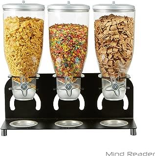 Mind Reader KELL300-BLK Metal Triple Cereal Dispenser, Black