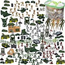 Blue Panda 300 Piece Army Action Figure Set, Military Toy Soldier Playset with Tanks, Planes, Flags, Battlefield Tools for Party and Display, Includes 8 - 3.5 Inches Figures with Flexible Joints
