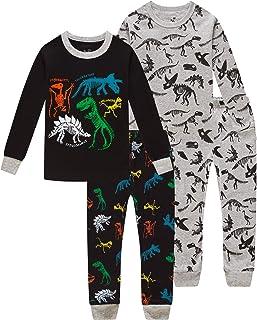 لباس خواب پسرانه دخترانه و لباس خواب کودکانه کریسمس دایناسورهای تاریک 4 قطعه شلوار