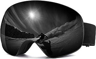 SHRAKMOUTH Snow Ski Goggles, Choice for Men and Women, Over The Glasses Frames, Anti-Fog Spherical Lenses Rainbow Color Br...