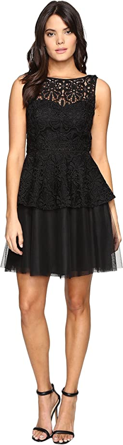 Lace Peplum Dress w/ Full Netted Skirt