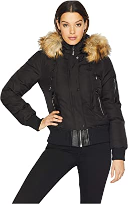 Short Bomber Down Jacket with Faux Fur Hood R1881