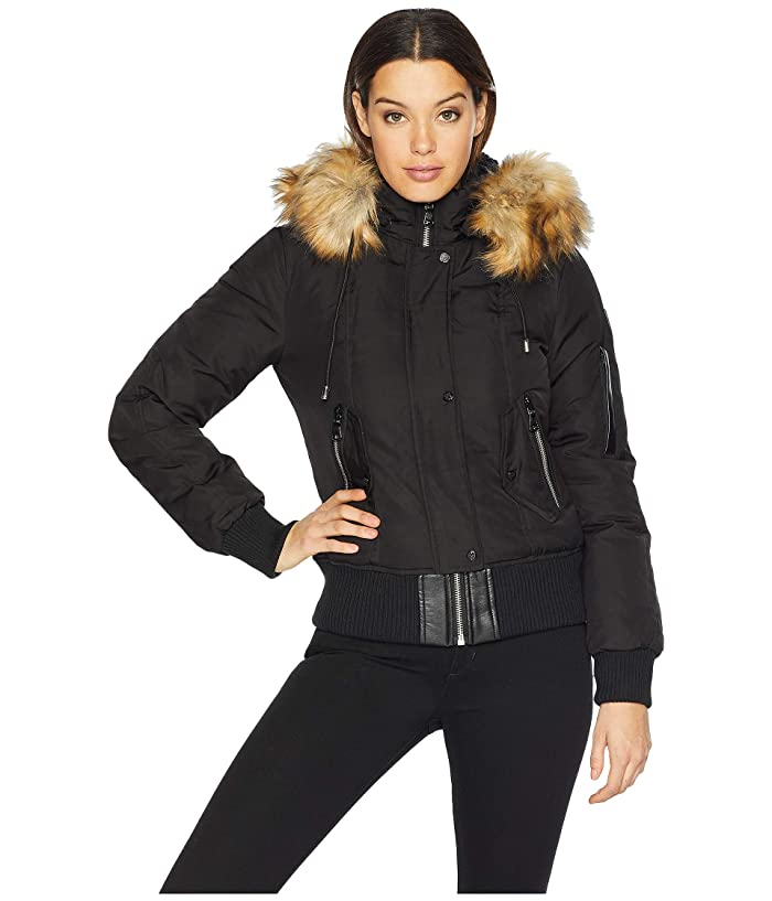Vince Camuto Short Bomber Down Jacket with Faux Fur Hood R1881 (Black) Women
