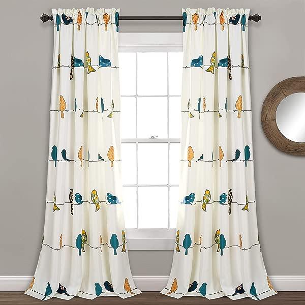 郁郁葱葱的装饰罗利小鸟窗帘房间变暗窗板为生活餐厅卧室对 84 L 多色