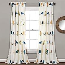 Lush Decor Rowley Birds Curtains Room Darkening Window Panel Set for Living, Dining,..