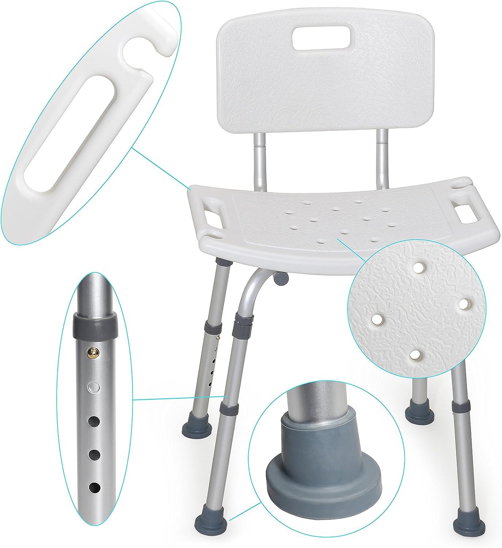 MedX5 (Upgrade 2019) taburete de ducha con respaldo de altura regulable, silla para bañarse, taburete para bañarse, carga máxima: 135 kg con travesaños ADICIONALES