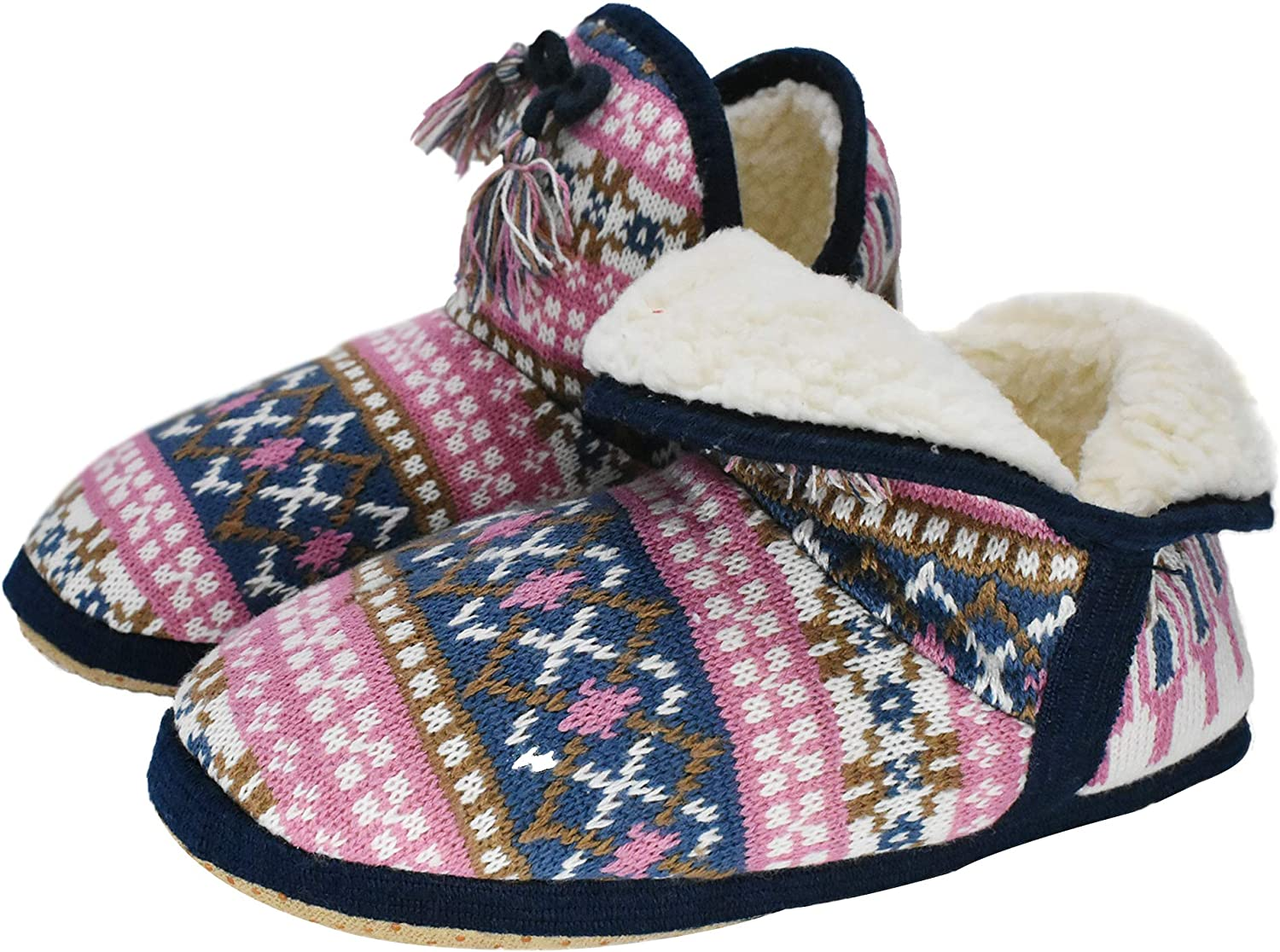 GPOS Womens Cashmere Knit House Slipper Booties Cotton Quilted Warm Indoor Ankle Boots Foam Insole Pink