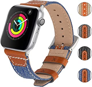 Fullmosa Nylon with Genuine Leather Watch Band Compatible for Apple Watch Series 5,4,3,2,1, Replacement Strap Wrist Band for iWatch 38mm 40mm 42mm 44mm Sport, Edition, Nike+