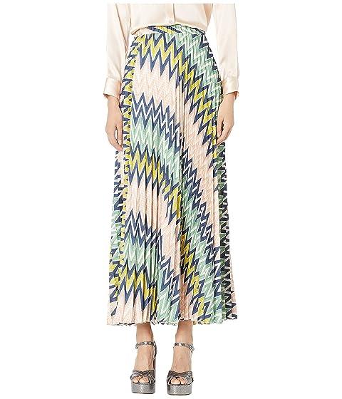 M Missoni Maxi Plizze Skirt in Zigzag Print