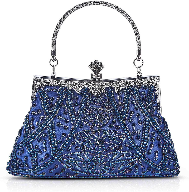 Eeayyygch Handtasche Frauen Perle Perlen Abend Clutch Handtaschen Hochzeit Taschen Geldbörse Mit Kettenriemen (Farbe   F, Größe   23x6x22cm(9x2x9inch)) B07KFZP33F