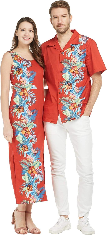 Couple Matching Luau Aloha Shirt Maxi Tank Dress Orchid Paradise Navy