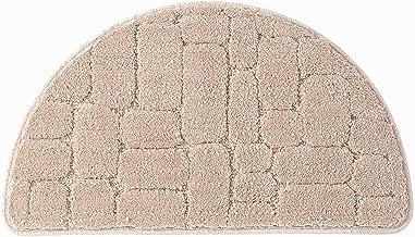 Semi-Circular Door Mat, Superfine Fiber Absorbent Floor Rug, Plain, Non-Slip, 20mm,Light Brown,20x31in