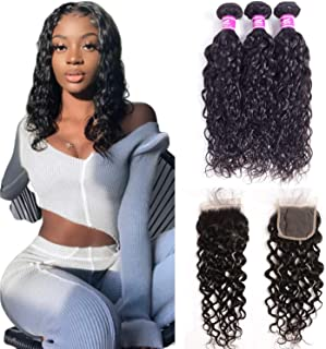 """Water Wave Hair 3 Bundles With Lace Closure 18""""20""""22""""+16"""" 8A Grade 100% Unprocessed Brazilian Wet And Wavy Human Hair Natural Black Color Human Hair Weave With Closure Ushine Hair"""