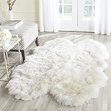 Safavieh Sheepskin Collection SHS211A Handmade 3.35-inch Thick Genuine Sheepskin Pelt Natural Shag Rug (4' x 6')