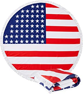 Great Bay Home Round USA Flag Beach Towels. 60