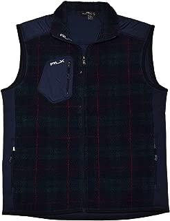 Ralph Lauren Polo RLX Mens Fleece Full Zip Jacket Coat Blue Green Plaid Large