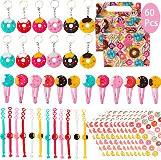 Donut Birthday Party favours Supplies Set - Donut Bracelets, HairClips, Tattoos, Key Chains and Goodie bags for Classroom ...