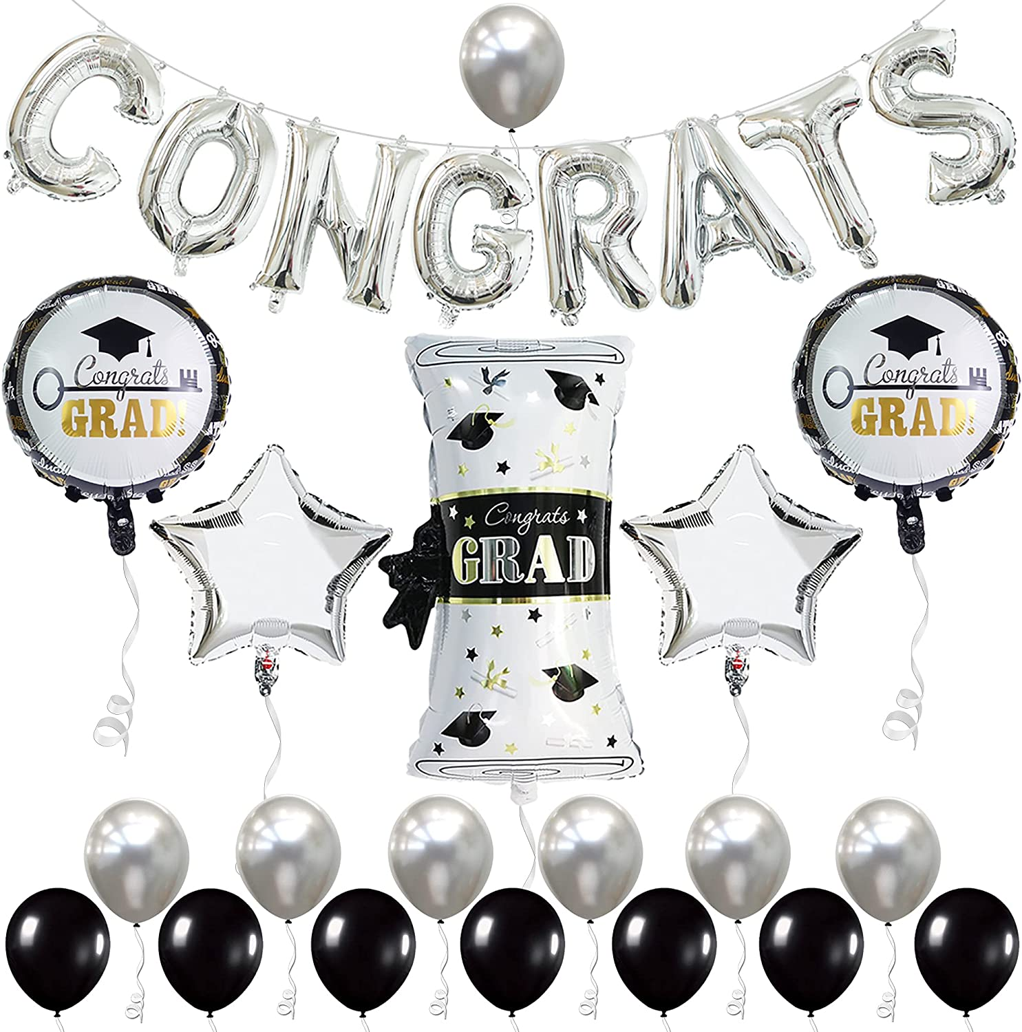 Silver Congrats Balloons for Graduation Decorations 2021 - Large
