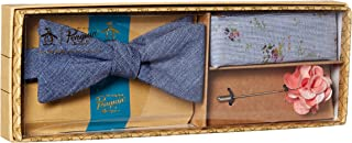 Original Penguin 男式 3 件套纯色领带,口袋方形和翻领别针盒