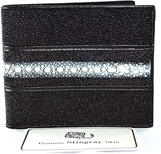GENUINE STINGRAY LEATHER w/ROW BIFOLD MEN's WALLET CLASSIC BLACK NEW FREE SHIPPNG